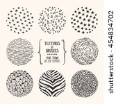 hand drawn textures and brushes.... | Shutterstock .eps vector #454834702