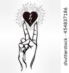 v sign hand. flash tattoo... | Shutterstock .eps vector #454837186