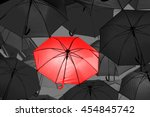 red umbrella in black and white ... | Shutterstock . vector #454845742