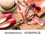 clothing for women  placed on a ...   Shutterstock . vector #454849618