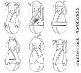 Vector Sketched Set Of Kokeshi...