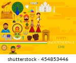 15th august  happy independence ... | Shutterstock .eps vector #454853446