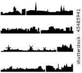 famous buildings in european... | Shutterstock .eps vector #45485941