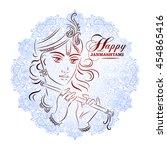 hindu young god lord krishna.... | Shutterstock .eps vector #454865416