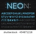 realistic neon alphabet on a... | Shutterstock .eps vector #454871218