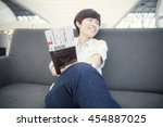 beautiful asian woman happy... | Shutterstock . vector #454887025