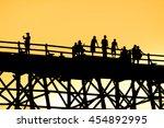 art tone silhouette of people... | Shutterstock . vector #454892995