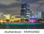 building in singapore at night... | Shutterstock . vector #454910482