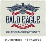 vintage textured font with... | Shutterstock .eps vector #454910998