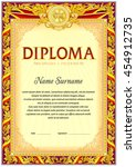 empty diploma template. hard... | Shutterstock .eps vector #454912735
