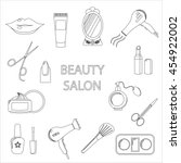 beauty salon. set of black line ... | Shutterstock .eps vector #454922002
