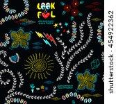 hippie seamless floral... | Shutterstock .eps vector #454922362