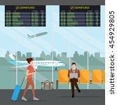airport passenger terminal and... | Shutterstock .eps vector #454929805