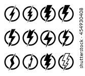 set of black lightning bolts... | Shutterstock .eps vector #454930408