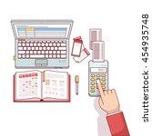 business man planning ... | Shutterstock .eps vector #454935748