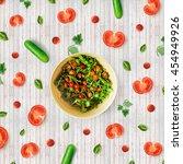 vegetables pattern made salad... | Shutterstock . vector #454949926