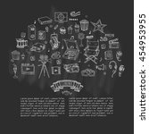 hand drawn doodle cinema set.... | Shutterstock .eps vector #454953955