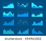 set of different graphs and... | Shutterstock .eps vector #454961002
