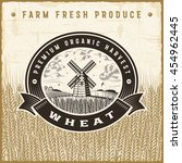 vintage wheat harvest label.... | Shutterstock .eps vector #454962445