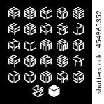 vector isometric alphabet.... | Shutterstock .eps vector #454965352