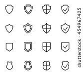 vector line shield icon set | Shutterstock .eps vector #454967425