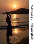 silhouette of girl in long...   Shutterstock . vector #454967842