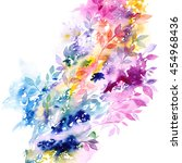 floral background. watercolor... | Shutterstock . vector #454968436