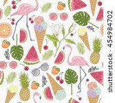 seamless summer pattern elements | Shutterstock .eps vector #454984702