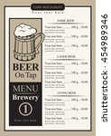 beer menu with price list and... | Shutterstock .eps vector #454989346