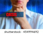 crisis title. person thinking... | Shutterstock . vector #454994692