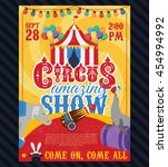 circus vintage poster with tent ... | Shutterstock .eps vector #454994992