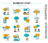 chat line icon set people talk...
