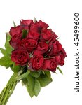 Stock photo bouquet of red roses on a white 45499600