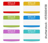 hello my name is color set tags | Shutterstock .eps vector #455000458