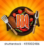 bbq grill elements  ... | Shutterstock .eps vector #455002486