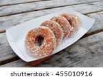 five tasty doughnuts in the... | Shutterstock . vector #455010916