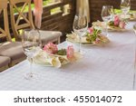 flower composition and candles... | Shutterstock . vector #455014072