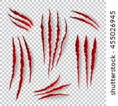 realistic claw scratches.... | Shutterstock .eps vector #455026945