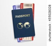 passport with airline tickets.... | Shutterstock .eps vector #455028328