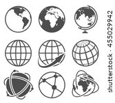 globe earth vector icons set.... | Shutterstock .eps vector #455029942