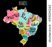 brazil map with states   vector ...   Shutterstock .eps vector #455034262