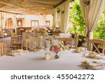 table setting at a luxury... | Shutterstock . vector #455042272