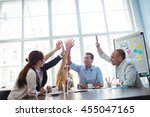 photo editors giving high five... | Shutterstock . vector #455047165