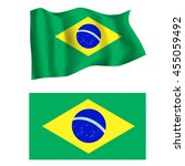 brazilian flag waving in the... | Shutterstock .eps vector #455059492
