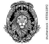 vector black and white lion... | Shutterstock .eps vector #455061892