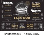 fast food menu cover layout... | Shutterstock .eps vector #455076802