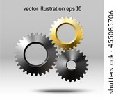 realistic golden gear and metal ... | Shutterstock .eps vector #455085706