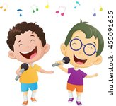 illustration of happy singing... | Shutterstock .eps vector #455091655