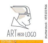 man in winged helmet. head of... | Shutterstock .eps vector #455101966