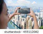 woman taking photo of hong kong ... | Shutterstock . vector #455112082